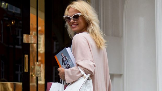 Pamela Anderson delivers lunch to Julian Assange at Embassy of Ecuador late last year.