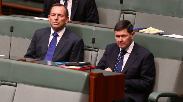 Former prime minister Tony Abbott in Parliament alongside fellow Liberal conservative Kevin Andrews.