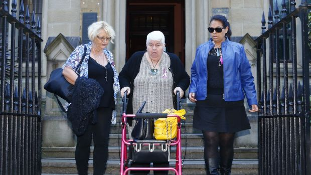 The family of deceased Marie Darragh leave the NSW Supreme Court: (from left) Charli Darragh, Janet Parkinson and ...