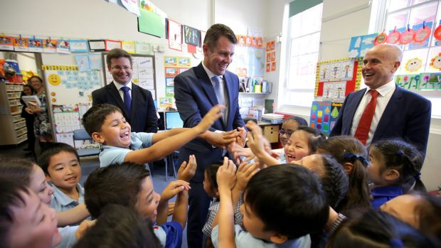 Premier Mike Baird and Education Minister Adrian Piccoli announced new funding at Hurstville South Public School last month