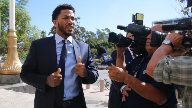 NBA star Derrick Rose outside court in 2016. His lawyer, Mark Baute, said media reporting on this case was biased ...