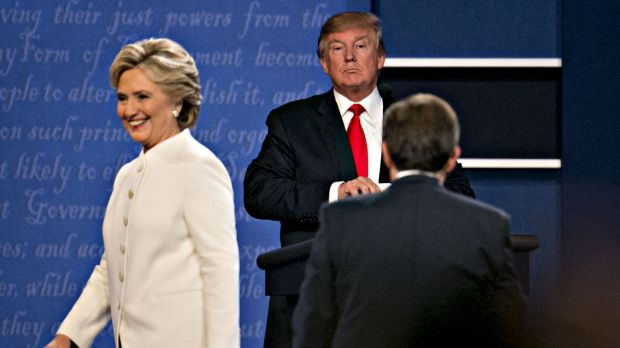 Hillary Clinton and Donald Trump during one of their bitter 2016 campaign debates.