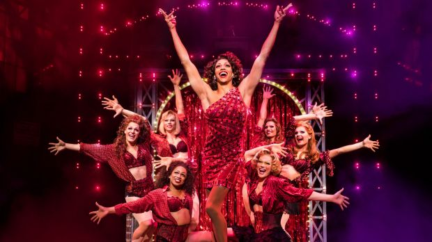 "Lola (Callum Francis) and her ""angels"" in <I>Kinky Boots</I>."