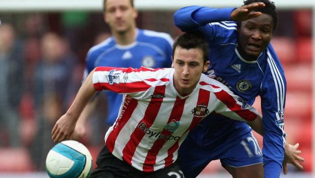 Flashback: Roy O'Donovan in Sunderland colours during Roy Keane's reign holds off the challenge of John Obi Mikel of ...