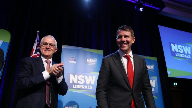 Prime Minister Malcolm Turnbull and NSW Premier Mike Baird at the NSW Liberal Party state conference at Sydney's Four ...