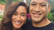 Happy couple: Israel Folau and Silver Ferns sharp shooter Maria Tutaia.