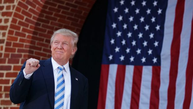 Republican presidential candidate Donald Trump arrives at a campaign rally.