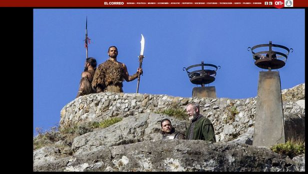 Kit Harrington, who plays Jon Snow, on set in Spain with two Dothraki warriors standing guard, in a leaked pic as it ...