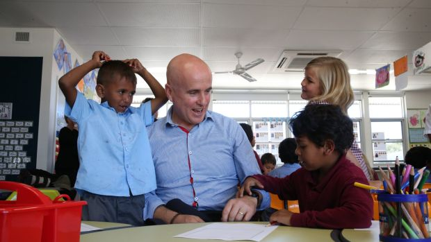 Adrian Piccoli during a visit last month to Moree East Public School.