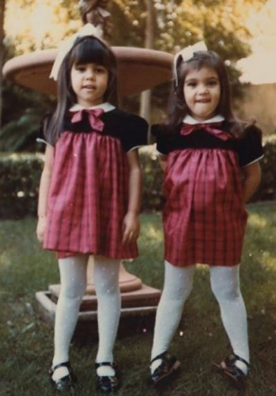 Kourtney Kardashian shared this vintage picture of herself and sister Kim to celebrate her sister's birthday last week.