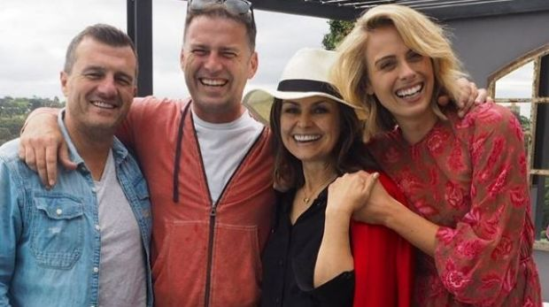 Today show producer Mark Calvert, Stefanovic, Wilkinson and Sylvia Jeffreys at Richard Wilkins' Today party on Saturday.