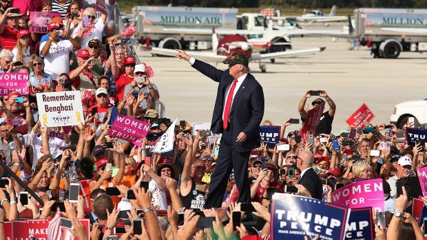 Many of Trump's points became chants that electrified crowds.