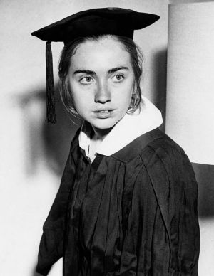"""""""The mind of a conservative and the heart of a liberal"""": Hillary Clinton as a Wellesley College senior in May, 1969."""