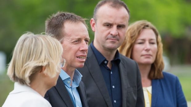 The Greens' Caroline Le Couteur and Shane Rattenbury, with ACT Chief Minister Andrew Barr and deputy Yvette Berry ...
