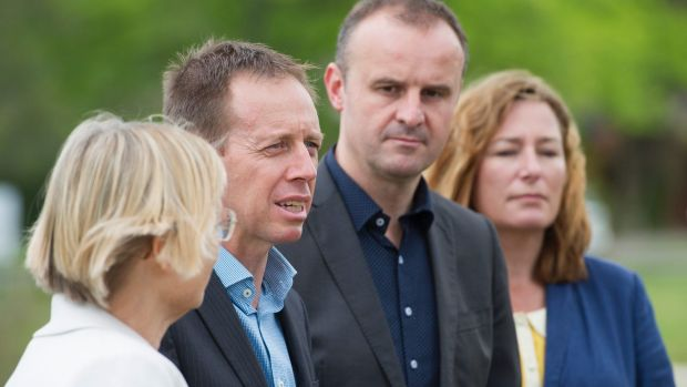 ACT Greens MLAs Caroline Le Couteur and Shane Rattenbury with Labor's Andrew Barr and Yvette Berry. Anti-corruption ...