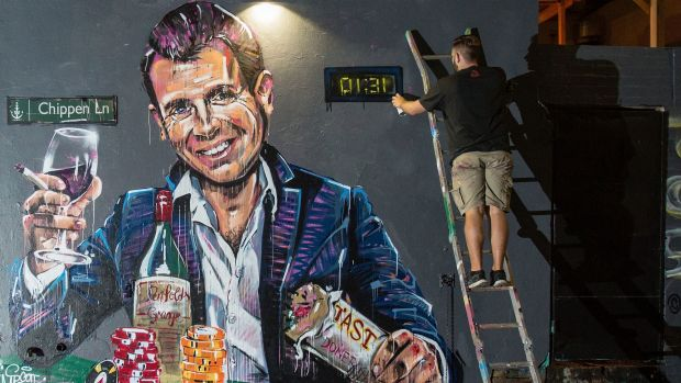 Scott Marsh's mural of NSW Premier Mike Baird against Sydney's lockout laws.