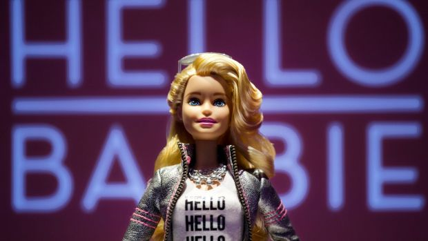 """Hello Barbie, satirised as """"Surveillance Barbie"""",  is Wi-Fi enabled and can record and store conversations between kids ..."""