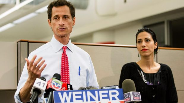 Happier times: Anthony Weiner and wife Huma Abedin in 2013.