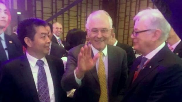 Landbridge head Ye Cheng, Prime Minister Malcolm Turnbull and then trade envoy Andrew Robb in Beijing in April 2016. ...