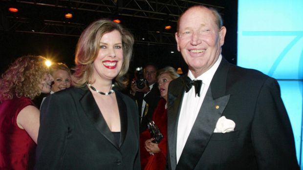 Former editor Deborah Thomas with Kerry Packer at a 75th anniversary party for <i>The Australian Women's Weekly</I>.