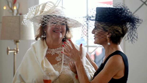 Gina Rinehart and Julie Bishop in the Emirates marquee at the Melbourne Cup.