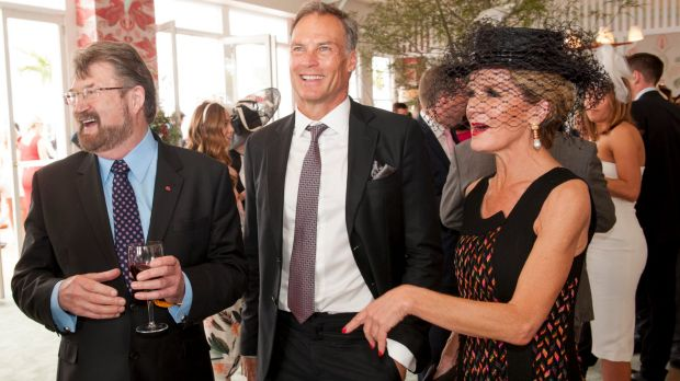 Birds of a feather ... Senator Derryn Hinch (left) with Julie Bishop and David Panton, at the Melbourne Cup.