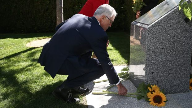 Prime Minister Malcolm Turnbull at an MH17 memorial in the gardens of Parliament House in Canberra. There will now also ...