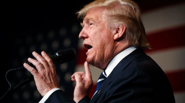 Republican presidential candidate Donald Trump in Wisconsin on Tuesday.