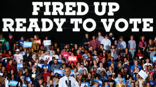 President Barack Obama speaks during a campaign event for Hillary Clinton in Ohio on Tuesday.