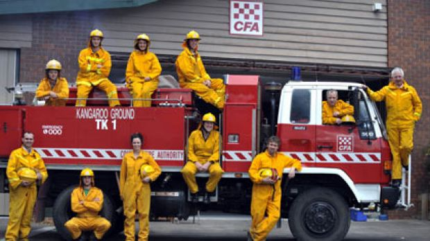 CFA recruits at Kangaroo Ground (top, from left) Jack Muir, Alec Pulton, Rebecca Thornton and Michael Sanderson, and ...