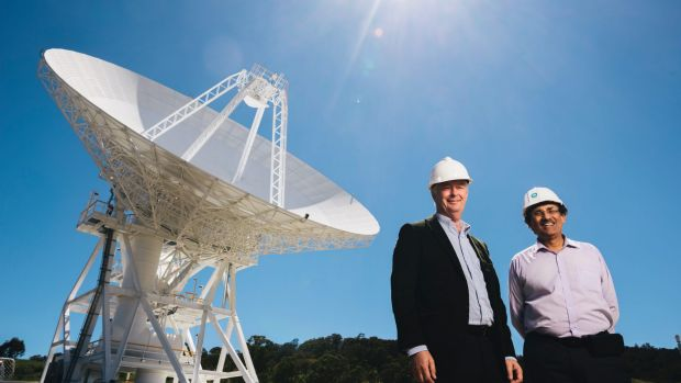 Station Director Ed Kruzins and Network Director Al Bhanji with Deep Space Station 36, the new antenna set to be ...