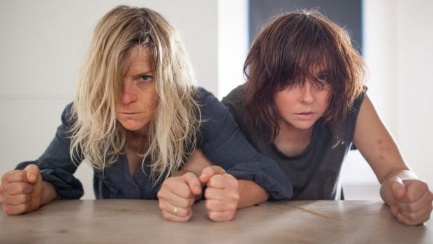Nicci Wilks and Kate Sherman in <i>Animal</i>, which aims to be shocking and violent.