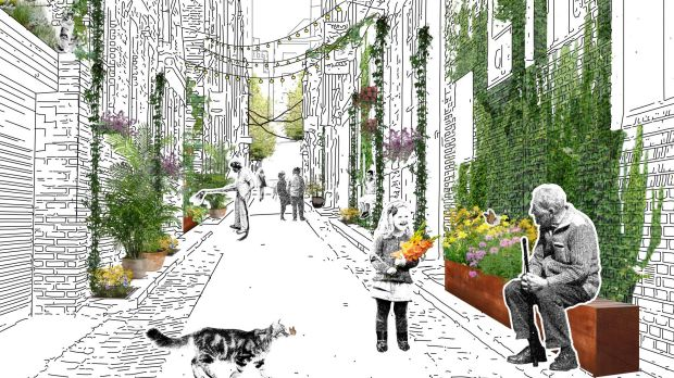 An artists impression of a plated-out Guildford Lane.