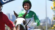 Ladies day: Michelle Payne returns a winner on Tavi Bay.