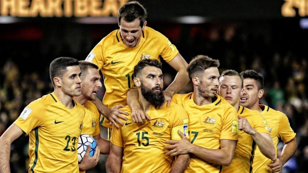 The Socceroos in action last October.