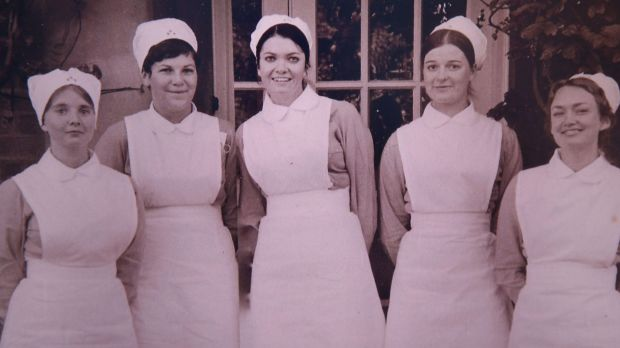 Mary Louise Wallace (centre) with her close nursing friends.