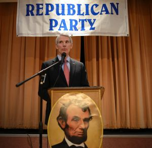 Ohio senator Rob Portman speaks at a Lincoln Day dinner in 2016. Trump's decisionmaking has shaken the faith of some ...