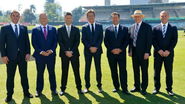 Nine's cricket commentary team at the WACA earlier this year: (from left) Shane Warne, Ian Healy, Michael Clarke, Mark ...