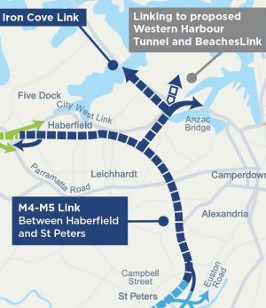 A map showing the M4-M5 link.