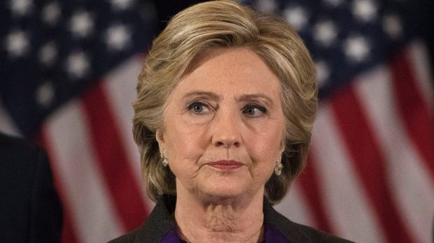 Hillary Clinton pauses while speaking in New York where she conceded to Donald Trump.