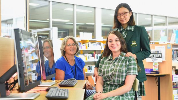 Teacher Rachel Lilley with students Elizabeth Son and Anna Costa Lopes. Ms Lilley has developed a course to enhance ...