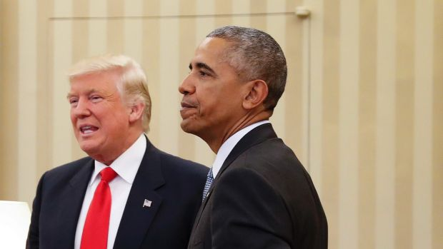 President-elect Donald Trump with Barack Obama at the White House.