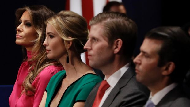 Melania Trump with Ivanka Trump, Eric Trump and Donald Trump Jr, who some foreign businesses and leaders will want to ...