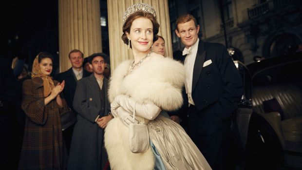 Claire Foy as Queen Elizabeth II  and Matt Smith as Prince Philip in The Crown.
