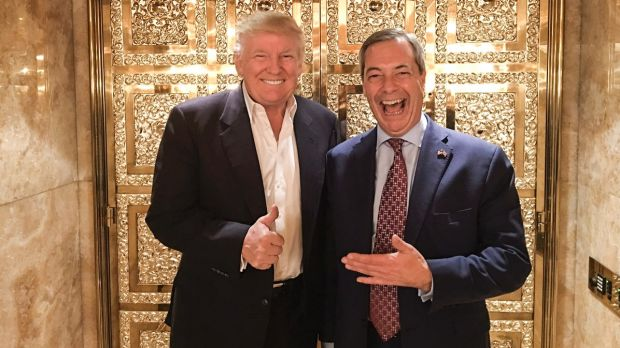 Former UK Independence Party leader Nigel Farage visited Donald Trump in New York after the 2016 election.