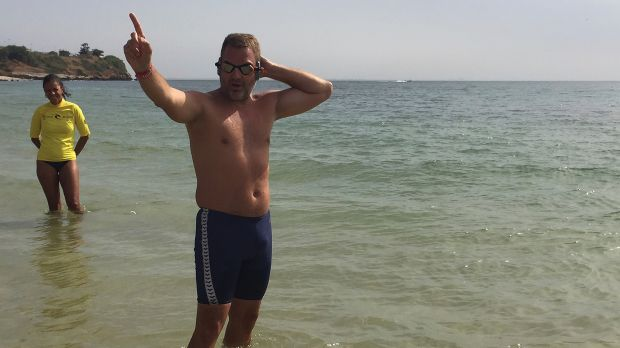 History making: Ben Hooper is aiming to become the first person to swim the Atlantic Ocean.