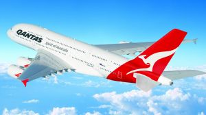 A Qantas A380 similar to the one which was delayed in Dubai.