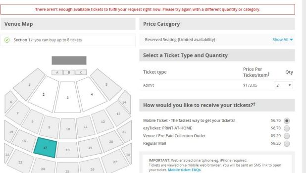The unwelcome message to greet many fans on the Ticketek website.