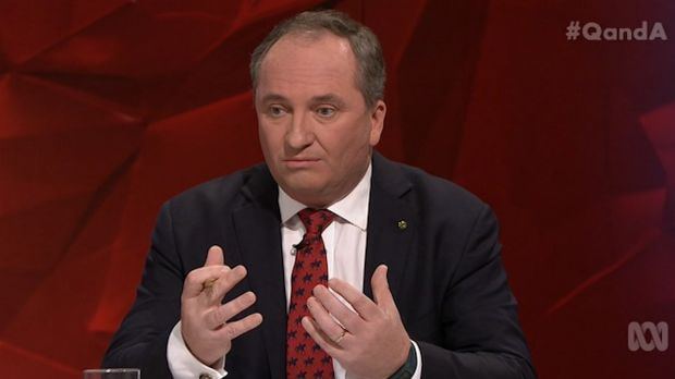 "Barnaby Joyce said the ABC sometimes pays too much attention to questions that are ""inside the beltway and have zero and ..."