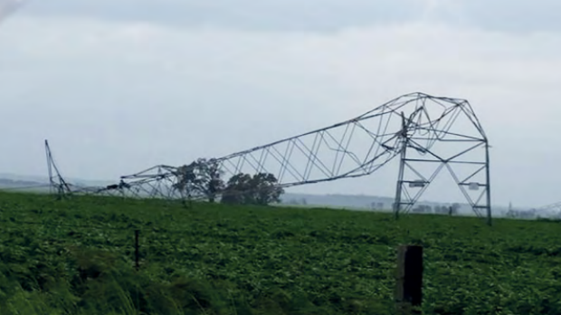 Catastrophic failure of transmission towers in the wake of the South Australian storm.